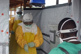 Dr. Tom Frieden, Director of the U.S. Centers for Disease Control and Prevention, exits an Ebola treatment center.