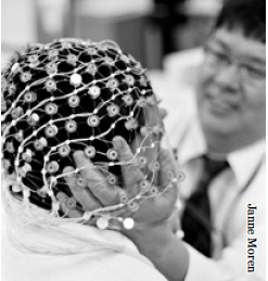 Demonstration of an EEG device, used today in neurological research on OCD.
