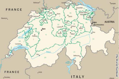 Though health coverage in Switzerland is universal, care is administered through the country's 26 cantons. Source: The World Factbook