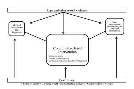 Fig. 1: Conceptual diagram of community-based intervention in conflict-related sexual violence settings. Source: Aaron Berman