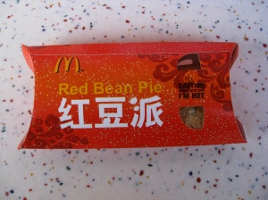 Red bean and sweet taro pies can be found at McDonalds in China—an example of how Western fast food chains have adapted to Chinese markets. Source: Istolehtetv