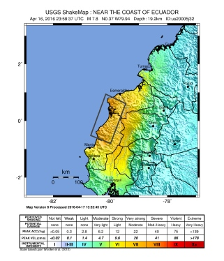 Map of the April, 2016 earthquake. Source: Wikimedia