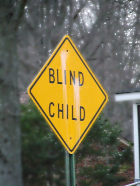 Signs alert drivers in order to keep blind children safe in the US. Source: Flickr user Daniel Thompson
