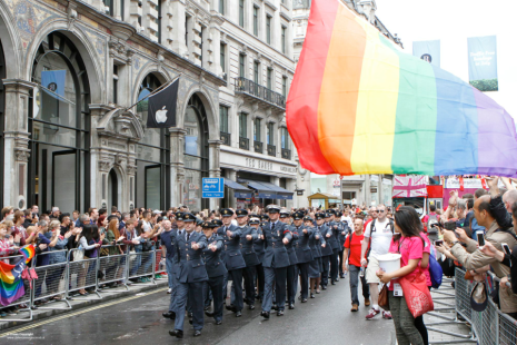 The Royal Air Force taking part in the 2014 London Pride Parade. Although LGBT activities are extremely stigmatized in Southeast Asia, gay marriage is legal in many western countries, including the UK. Source: Defence Images, Creative Commons