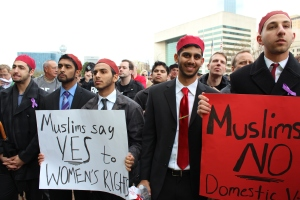 On March 23, 2013, members of Alif Laam Meem, a national Muslim fraternity based at the University of Texas at Dallas, stood up against domestic violence as Muslims and as men of Dallas. Source: AliMMahmoud94, Wikimedia Commons.