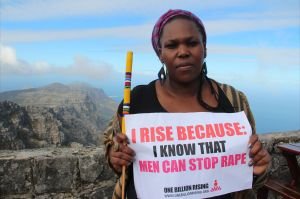 South African actress Andrea Dondolo on Table Mountain in Cape Town, as part of One Billion Rising, to call for an end to violence against women and girls. Source: Lindsay Mgbor/DFID.